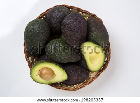 Some avocados on a white background.