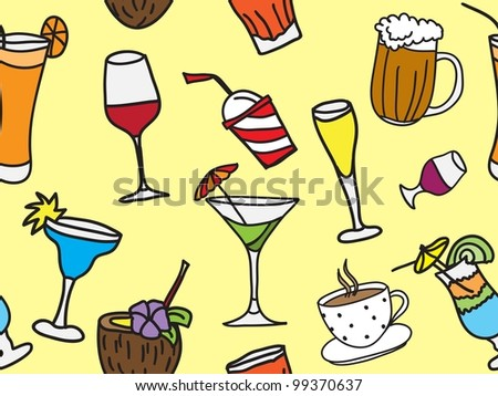 Some kinds of drinks and cocktails - colored seamless pattern and background