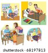 Some Raster illustrations about healthcare and medicine, illness and doctors. On white background. Made in Adobe Photoshop. - stock photo