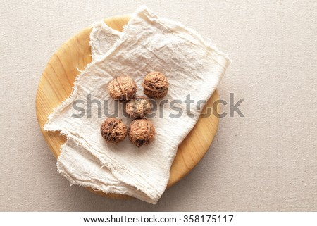 Some walnuts in wooden plate