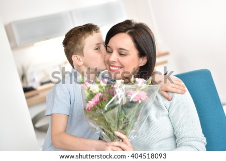 Son Kissing Mom On Her Birthday Stock Photo 404515318 ...