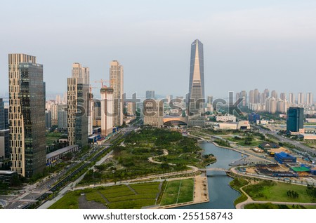 SONGDO,SOUTH KOREA - July 16, 2014: Songdo Central Park in Songdo International Business District.Incheon,Korea
