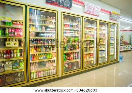 Songkhla, 30 june 2015: 7-Eleven shop with interior of soft drinks shelves in fridges in Ra Not town, Songkhla province, Thailand.