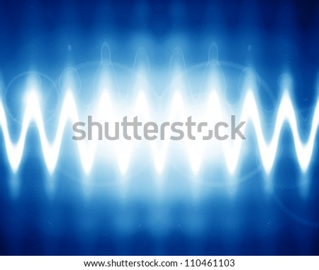 sound wave on a bright blue background