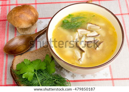 soup made with fresh white mushrooms and vegetables - vegan