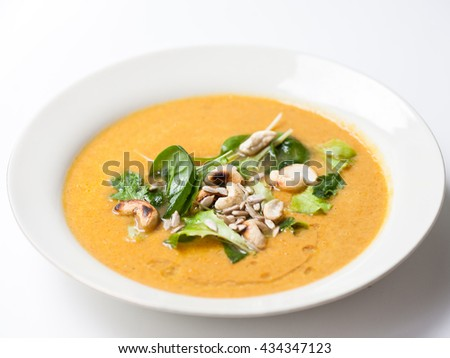 soup with nuts and leaves
