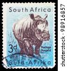 SOUTH AFRICA - CIRCA 1952: A stamp printed in South Africa shows image of a rhinoceros, series, circa 1952 - stock photo