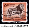 SOUTH AFRICA - CIRCA 1958: A stamp printed in South Africa shows standing lion, circa 1958 - stock photo