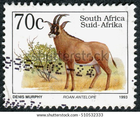 SOUTH AFRICA - CIRCA 1993: A stamp printed in South Africa, shows the animal Roan Antelope (Hippotragus equinus), circa 1993