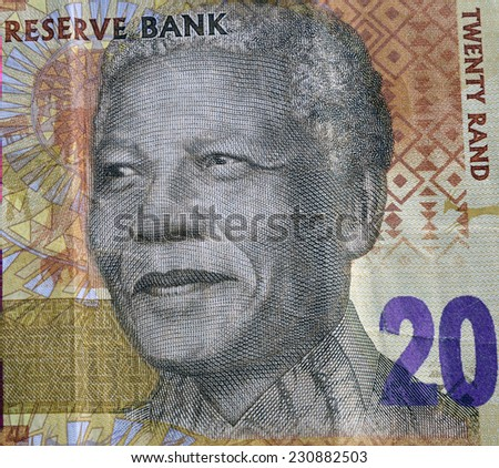 SOUTH AFRICA - CIRCA 2014: Nelson Mandela on 20 Rand 2014 Banknote from South Africa.