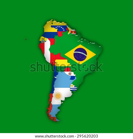 South America,continent, flags, maps, and green  background