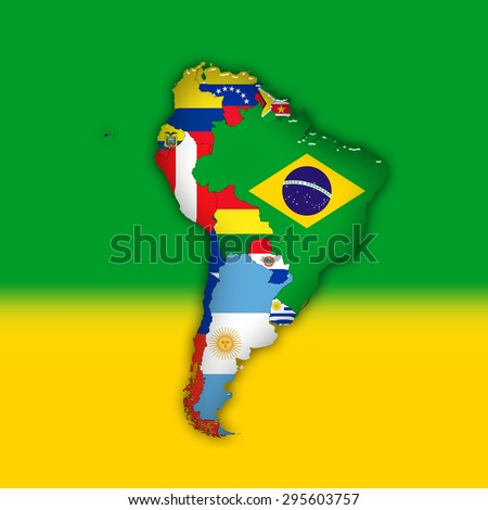 South America,continent, flags, maps, and green yellow color background