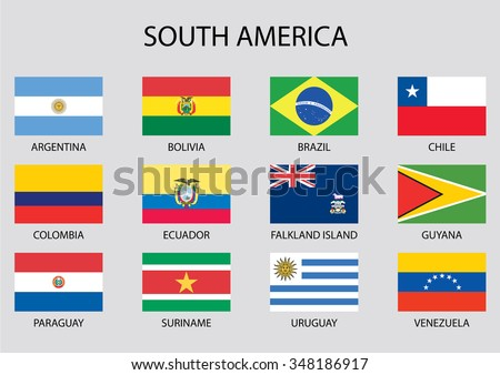 South america continent flag pack stock vector 215005849 for What color is south america