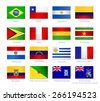 South America flags set of all continent countries and overseas territories.Raster version. - stock photo