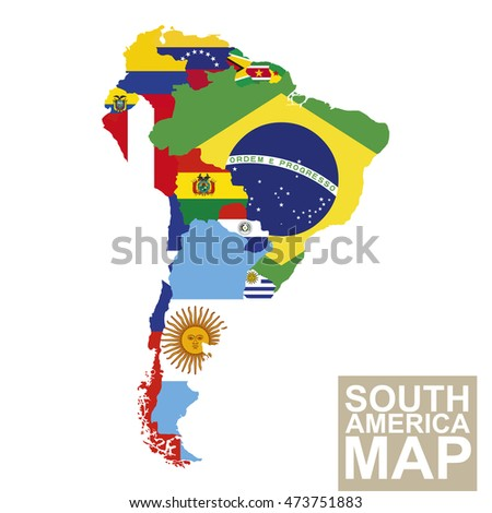 South America map. Vector map of South America with flags. Raster copy.
