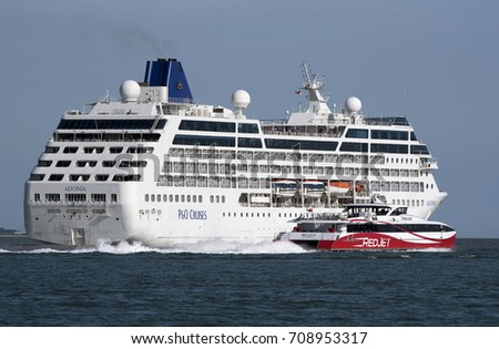 Cruise Ship Adonia Underway On Southampton Stock Photo - Adonia cruise ship