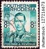 SOUTHERN RHODESIA  - CIRCA 1937: A stamp printed in Southern Rhodesia shows King George VI, circa 1937. - stock photo