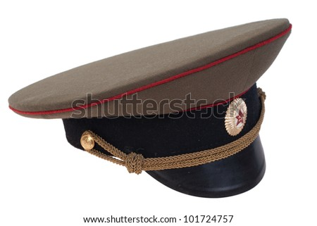 soviet army officer's cap isolated on white background