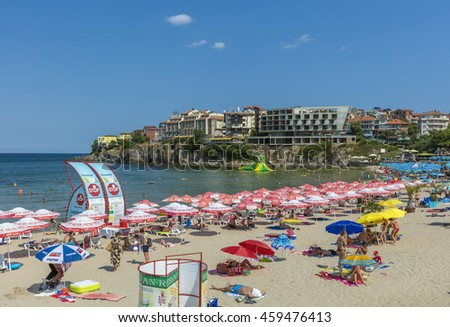 SOZOPOL, BULGARIA, JULY 22, 2016: Central beach and view of the Old Town. Sozopol was founded in the 7th century BC by Greek colonists. Today it is one of the major seaside resorts in the country