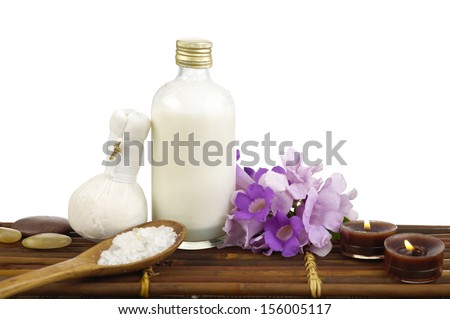 spa accessories on mat background