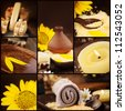 Spa collage series. Collage of wellness products. Soap, candles, flower and towels in natural dayspa setting. - stock photo