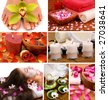 Spa collage with aromatherapy, skincare, pedicure, and herbal  relaxing tea - stock photo