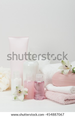 Spa Kit. Shampoo, Soap Bar And Liquid. Toiletries.
