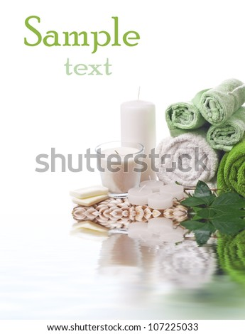 spa set, candlle and towel