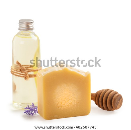 Spa set of natural homemade honey soap and oil