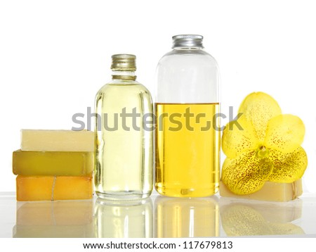 spa set-yellow orchid, massage oil, stacked soap