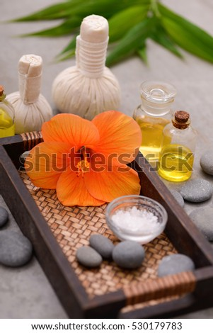 spa treatment scene, tropical set