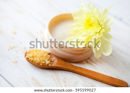 SPA treatment set   on  white wooden  table