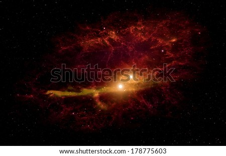 Space background with nebula and bright star. Elements of this image furnished by NASA.