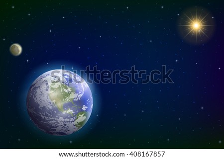 Space Background with Realistic Planet Mother Earth, Moon, Sun and Stars. Elements of this Image Furnished by NASA, www.visibleearth.nasa.gov