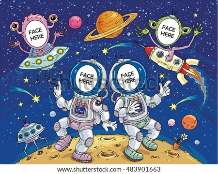 Space Cosmos Science Fiction Aliens and Astronauts - Face in Hole Funny Cartoon  Template with Four Characters - Create your funny photos - Put you face on another body