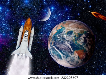 Space Shuttle Spaceship Launch Spacecraft Planet Stock ...