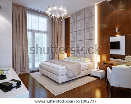 Spacious master bedroom with wooden wall panels  3d render. Modern Bedroom White Gypsum 3d Panels Stock Illustration 563935051