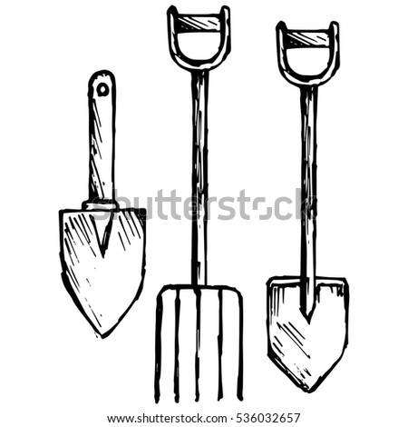 Spade and pitchfork, bayonet spade. Isolated on white background. Raster version