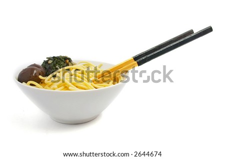 spaghetti on white background