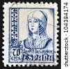 SPAIN - CIRCA 1965: A stamp printed in Spain shows image of Isabella I of Castile, former Queen of Castile and Leon, circa 1965 - stock photo