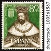 SPAIN - CIRCA 1963: a stamp printed in the Spain shows King James I the Conqueror, King of Aragon, circa 1963 - stock photo