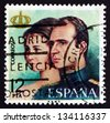 SPAIN - CIRCA 1975: a stamp printed in the Spain shows Queen Sofia and King Juan Carlos I, Royal Couple, circa 1975 - stock photo