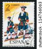 SPAIN - CIRCA 1974: stamp printed by Spain, shows Artillery officers, circa 1974. - stock photo