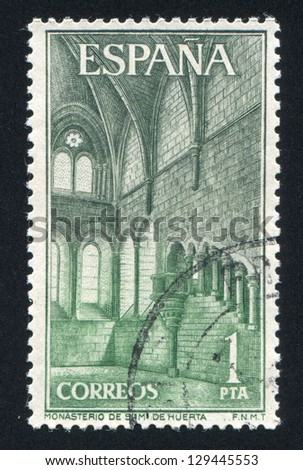 SPAIN - CIRCA 1964: stamp printed by Spain, shows Great Hall, Santa Maria de Huerta Monastery, circa 1964