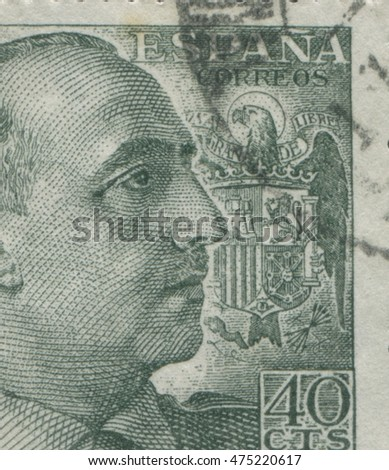 "SPAIN - CIRCA 1949: Stamp printed in Spain showing a portrait of General Francisco Franco 1892-1975 , series ""Francisco Franco"", circa 1949"