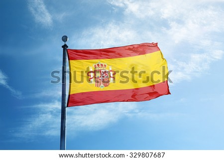 Spain flag on the mast