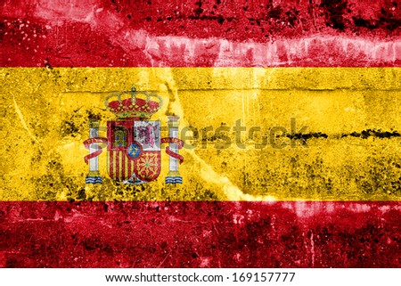 Spain Flag painted on grunge wall