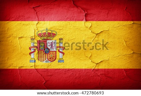 Spain Flag painted on grunge wall-3D illustration