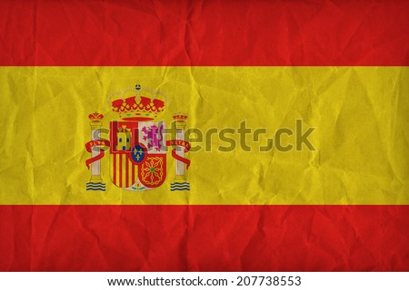 spain flag pattern on the paper texture ,retro vintage style