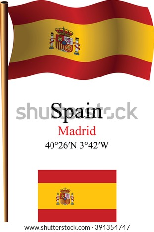 spain wavy flag and coordinates against white background, art illustration, image contains transparency